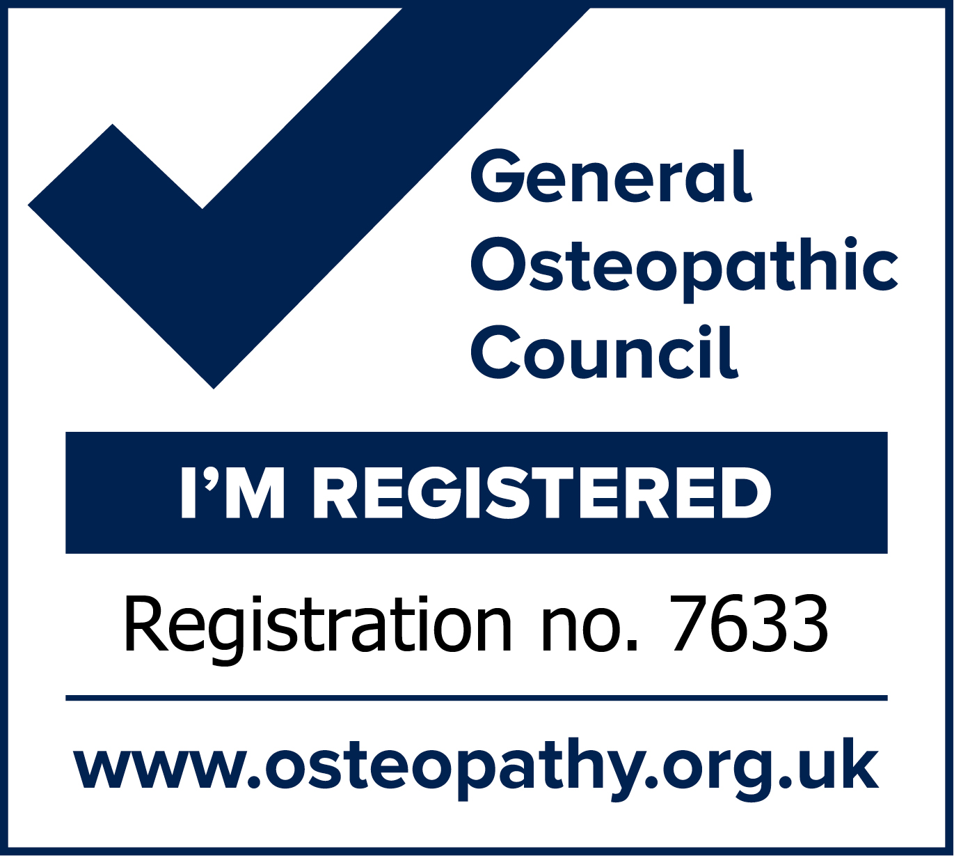 General Osteopathic registeration no 7633